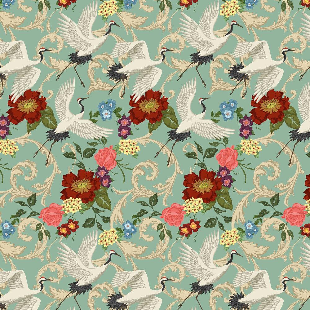 Manchurian Crane Wallpaper - Eggshell Blue - by Sand & Sushi