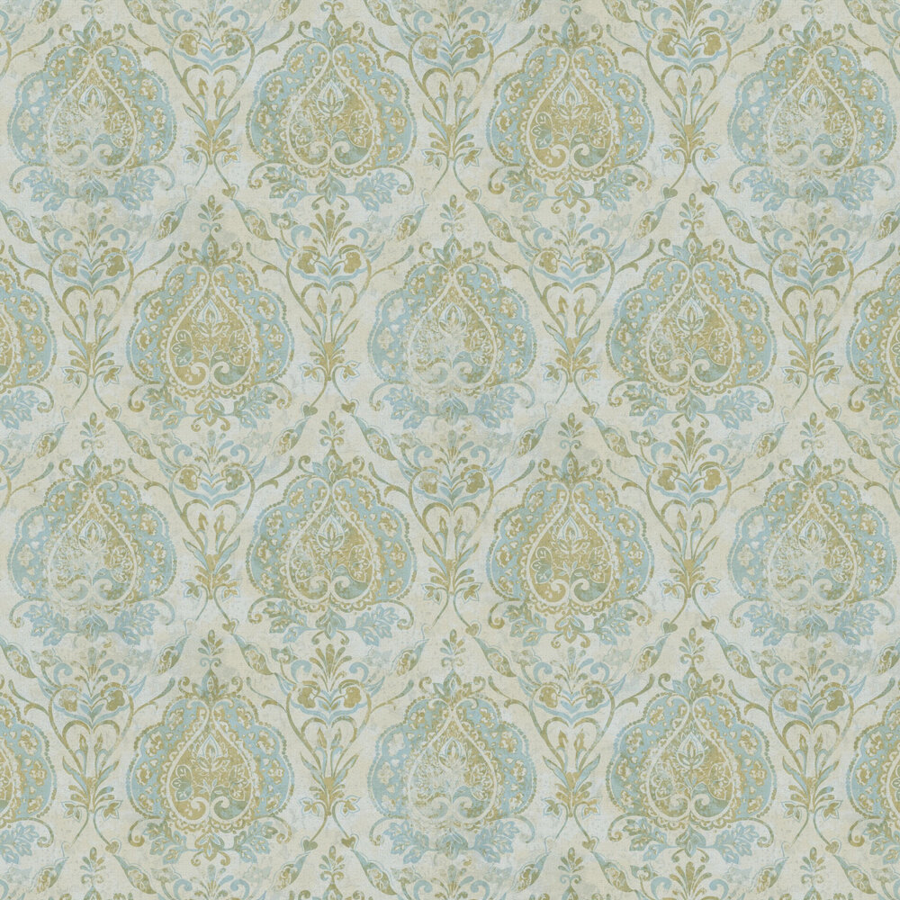 Damasco Netto Wallpaper - Cold Green - by Galerie