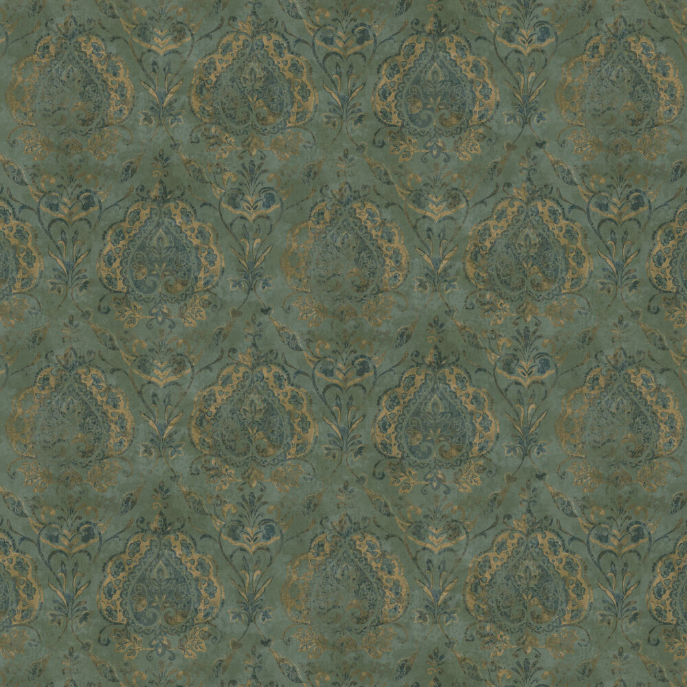 Damasco Netto Wallpaper - Green - by Galerie
