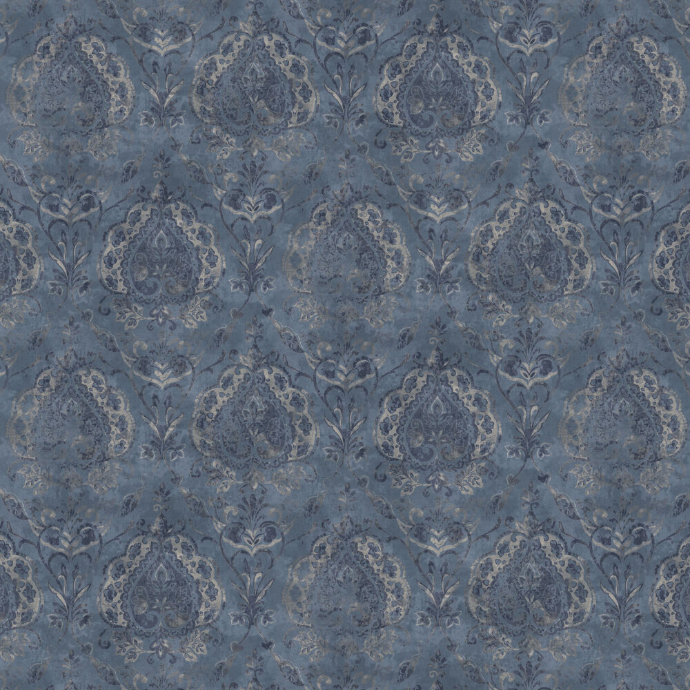 Damasco Netto Wallpaper - Blue - by Galerie
