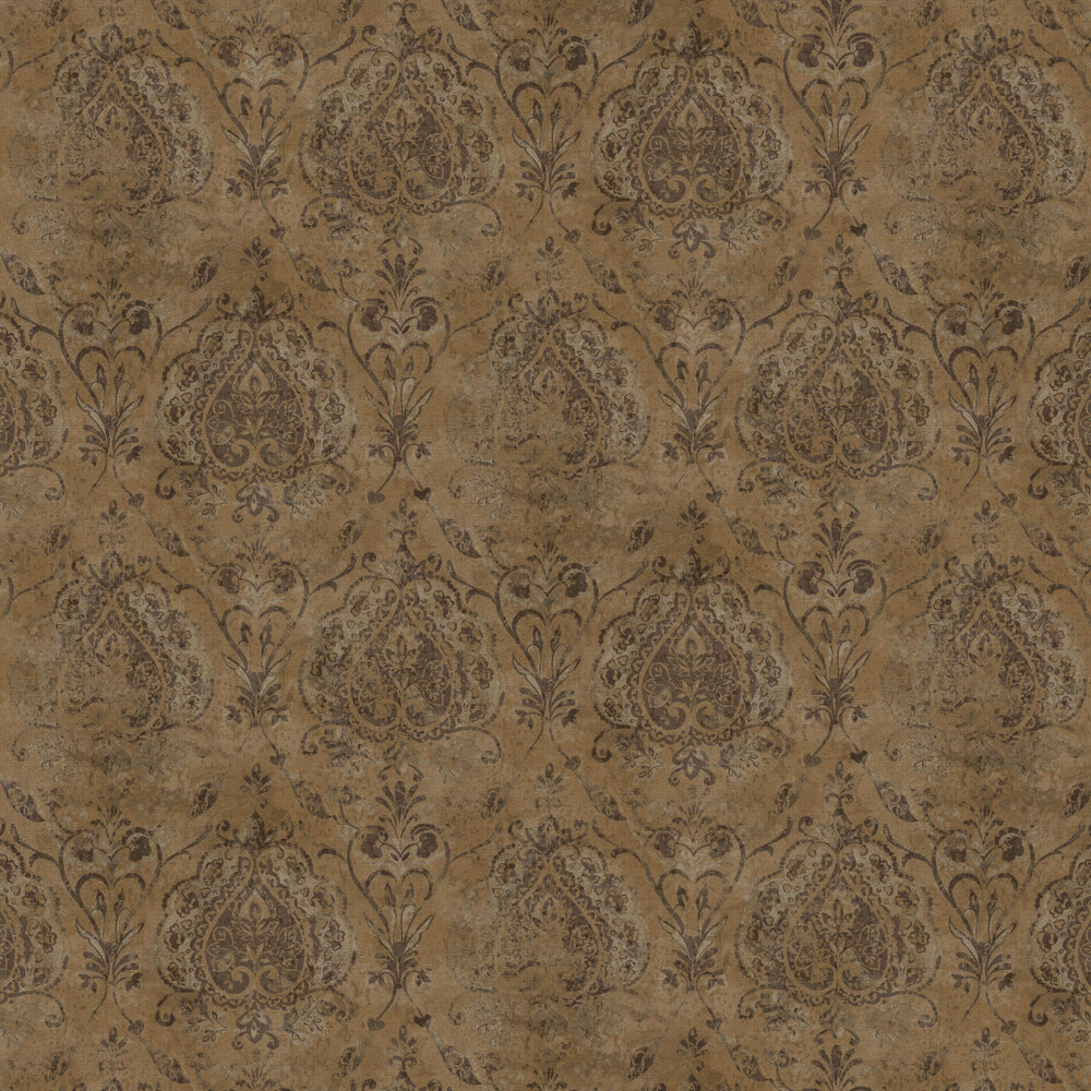 Damasco Netto Wallpaper - Brass - by Galerie