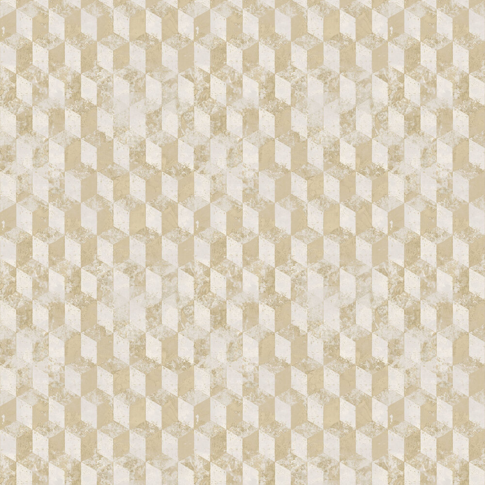 Cubo Netto Wallpaper - Light Yellow - by Galerie