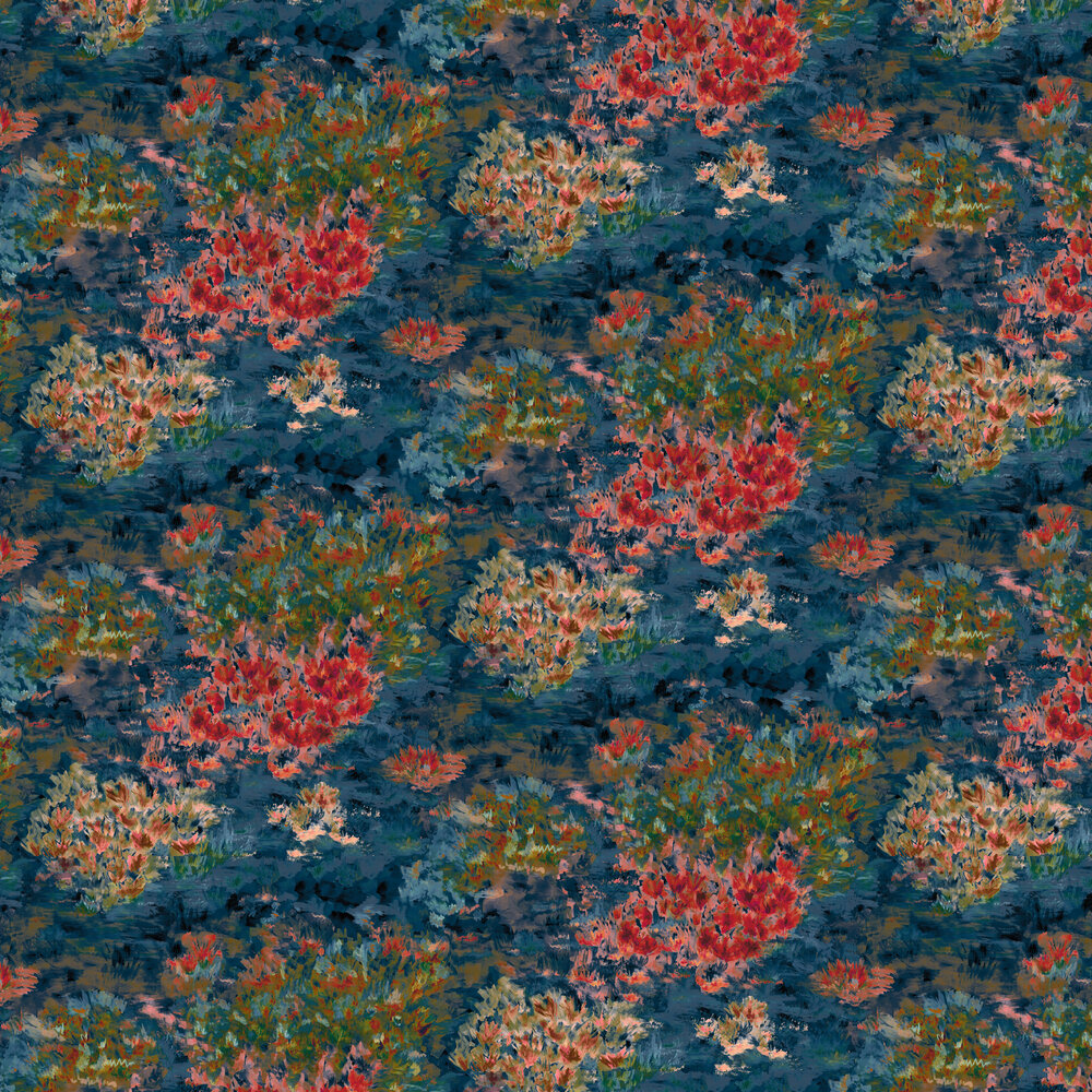 Fiore Wallpaper - Midnight / Spice - by Clarke & Clarke