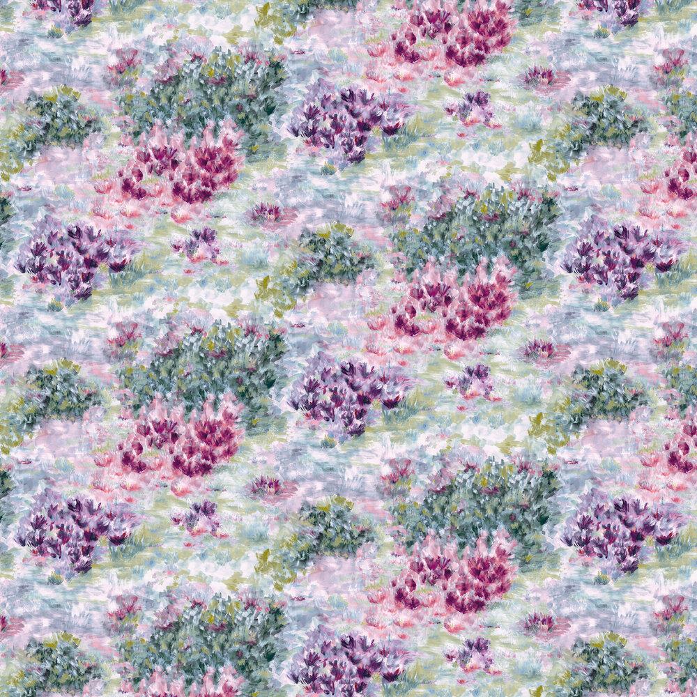 Fiore Wallpaper - Slate / Amethyst - by Clarke & Clarke