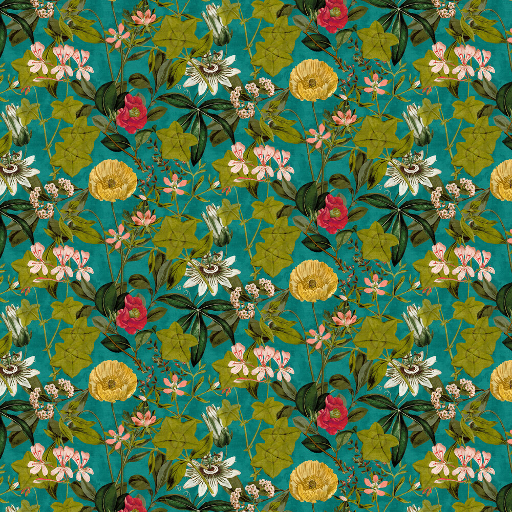 Passiflora Wallpaper - Kingfisher - by Clarke & Clarke