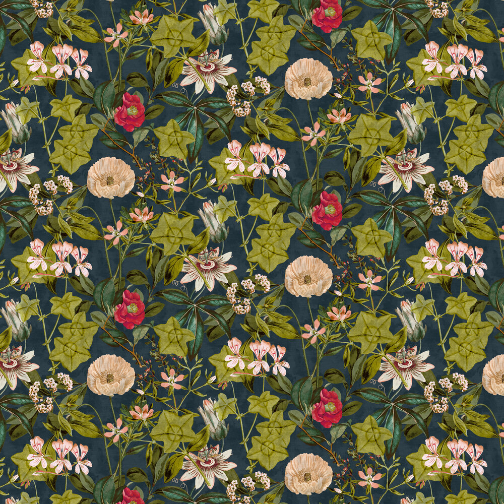 Clarke & Clarke Passiflora Midnight / Spice Wallpaper - Product code: W0127/03