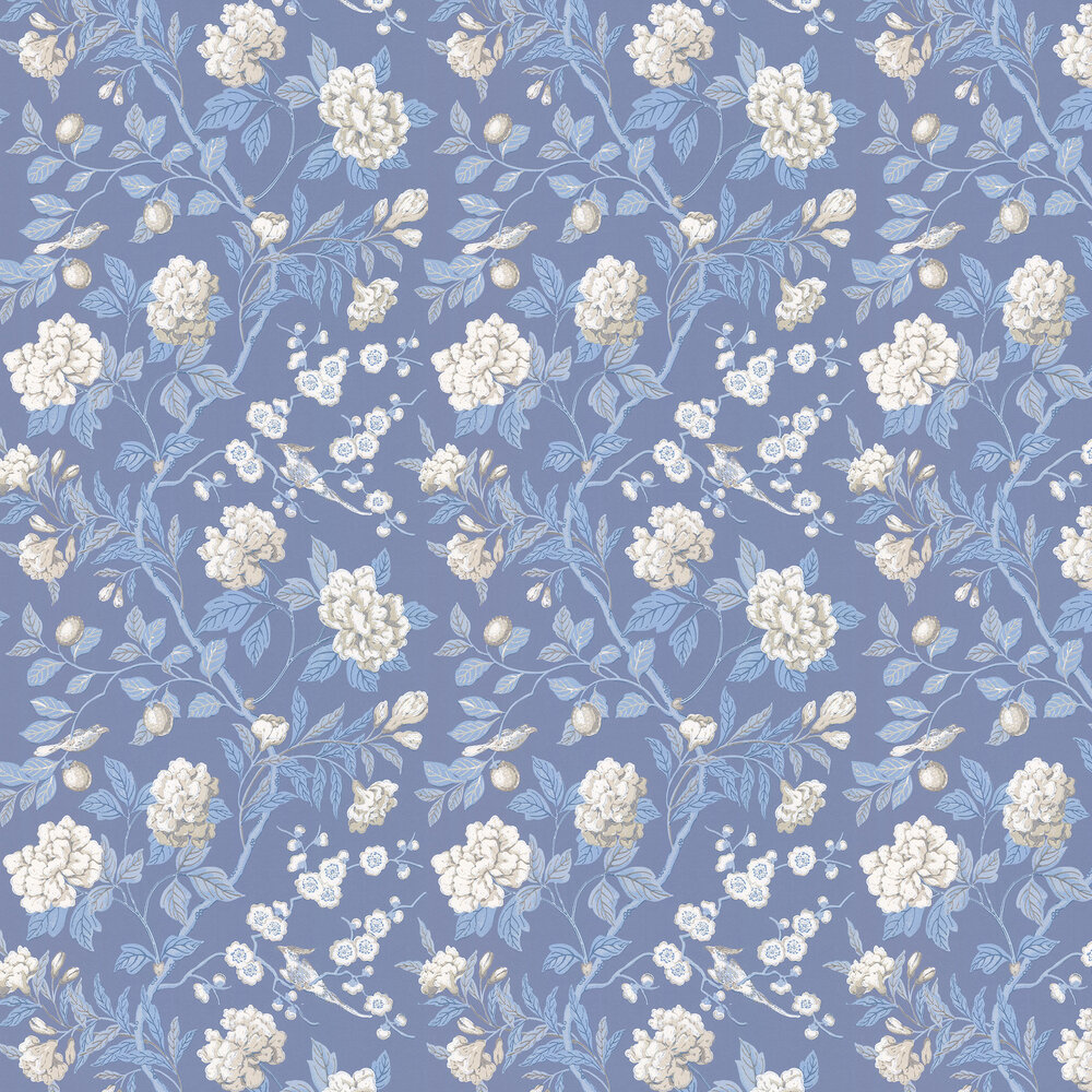 Emperors Garden Wallpaper - Blue - by G P & J Baker