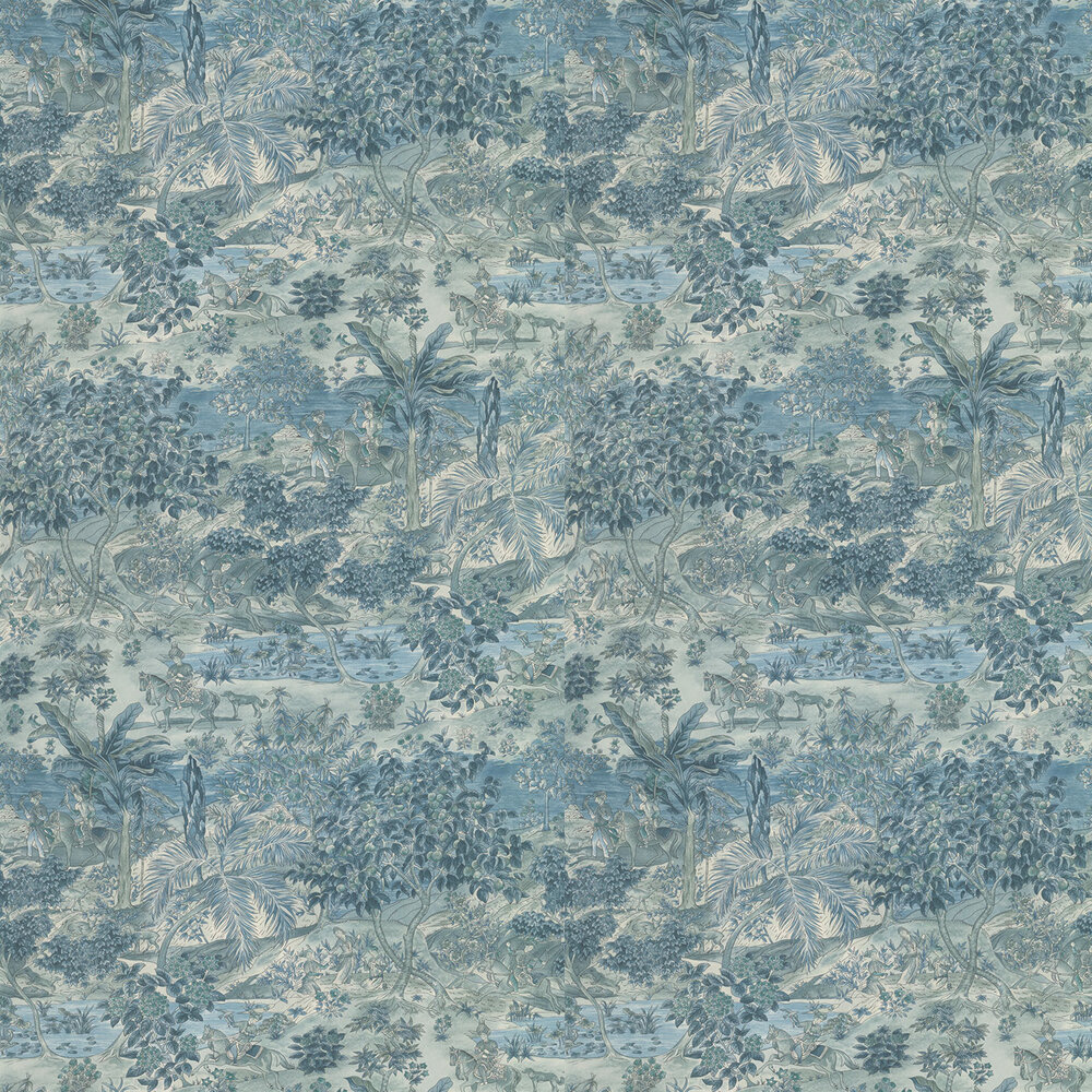 Ramayana Wallpaper - Blue - by G P & J Baker