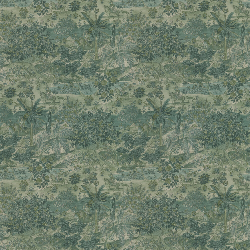 G P & J Baker Ramayana Emerald Wallpaper - Product code: BW45088/3