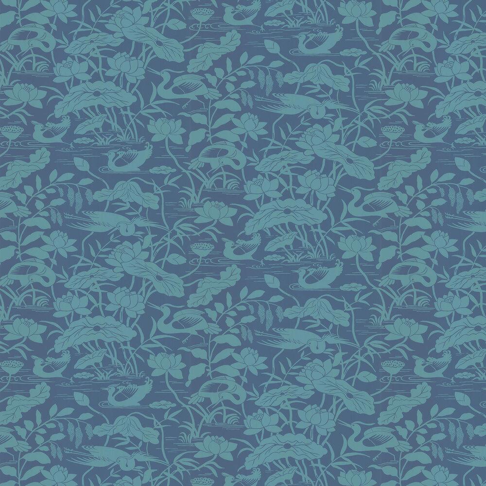 Heron & Lotus Flower Wallpaper - Teal / Blue - by G P & J Baker