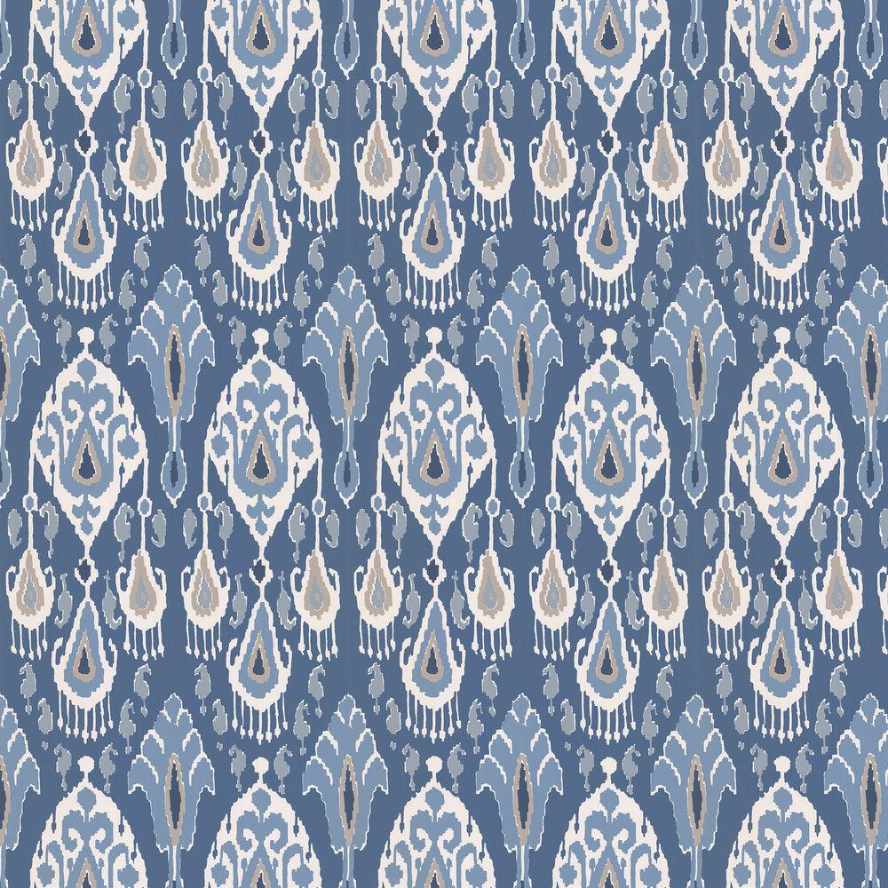 Ikat Bokhara Wallpaper - Indigo - by G P & J Baker