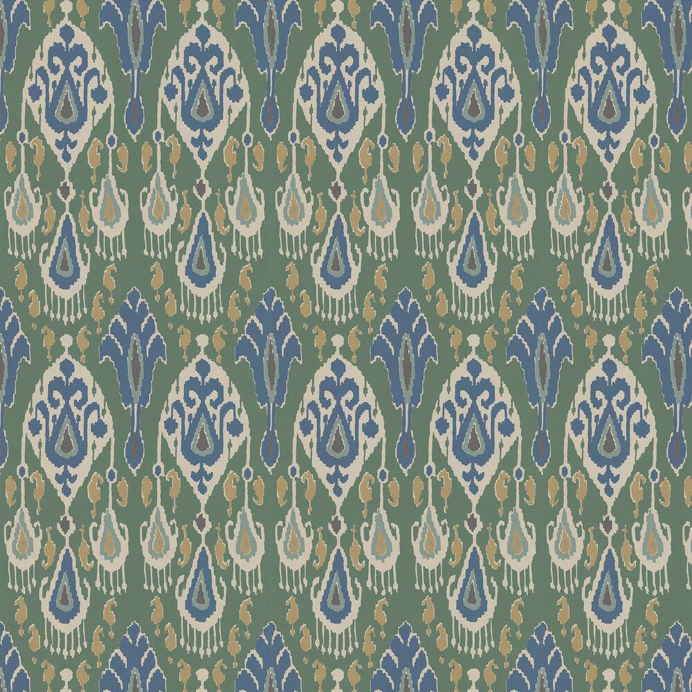 Ikat Bokhara Wallpaper - Emerald - by G P & J Baker