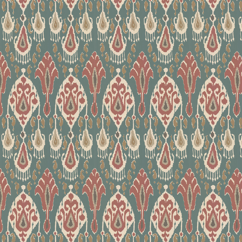 Ikat Bokhara Wallpaper - Teal - by G P & J Baker
