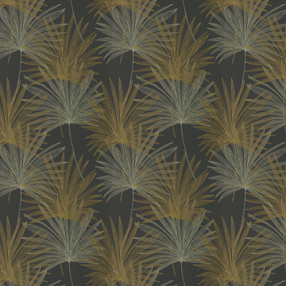 Mitende Wallpaper - Jet / Gold - by Harlequin