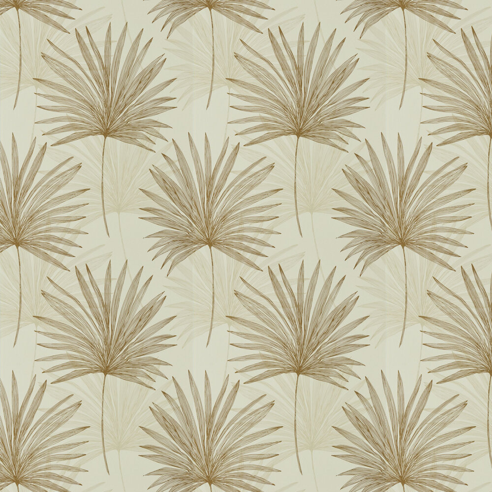 Mitende Wallpaper - Oyster / Gold - by Harlequin