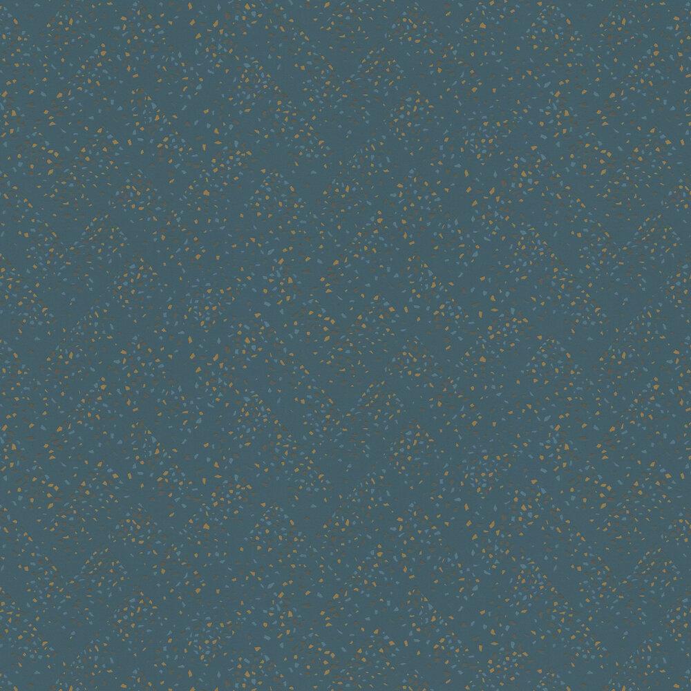 Terrazo Wallpaper - Teal / Bronze - by New Walls
