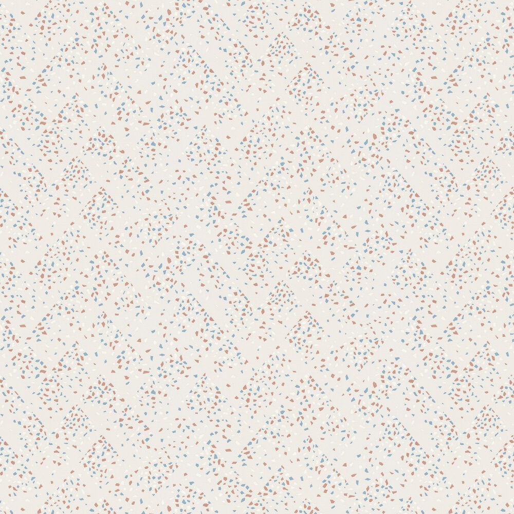 Terrazo Wallpaper - White / Bronze / Teal - by New Walls