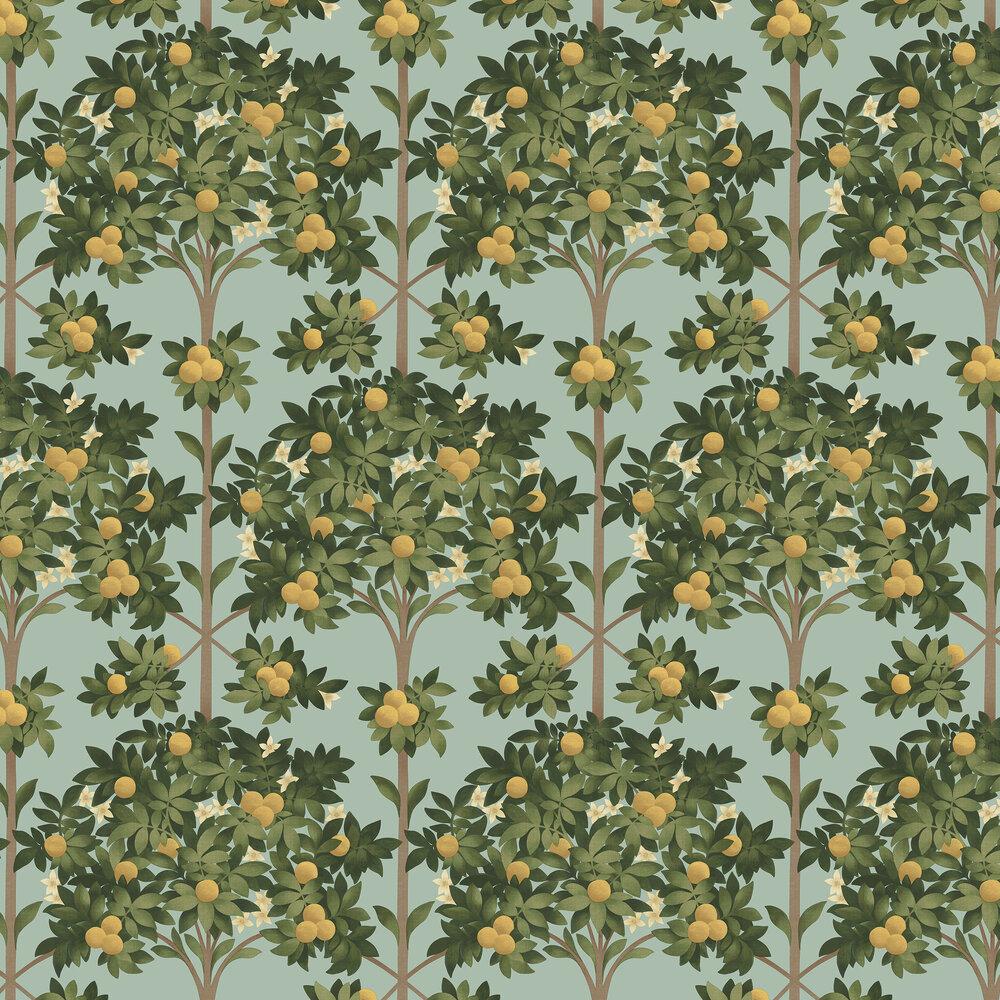 Orange Blossom Wallpaper -  Lemon & Dark Olive Green on Duck Egg - by Cole & Son