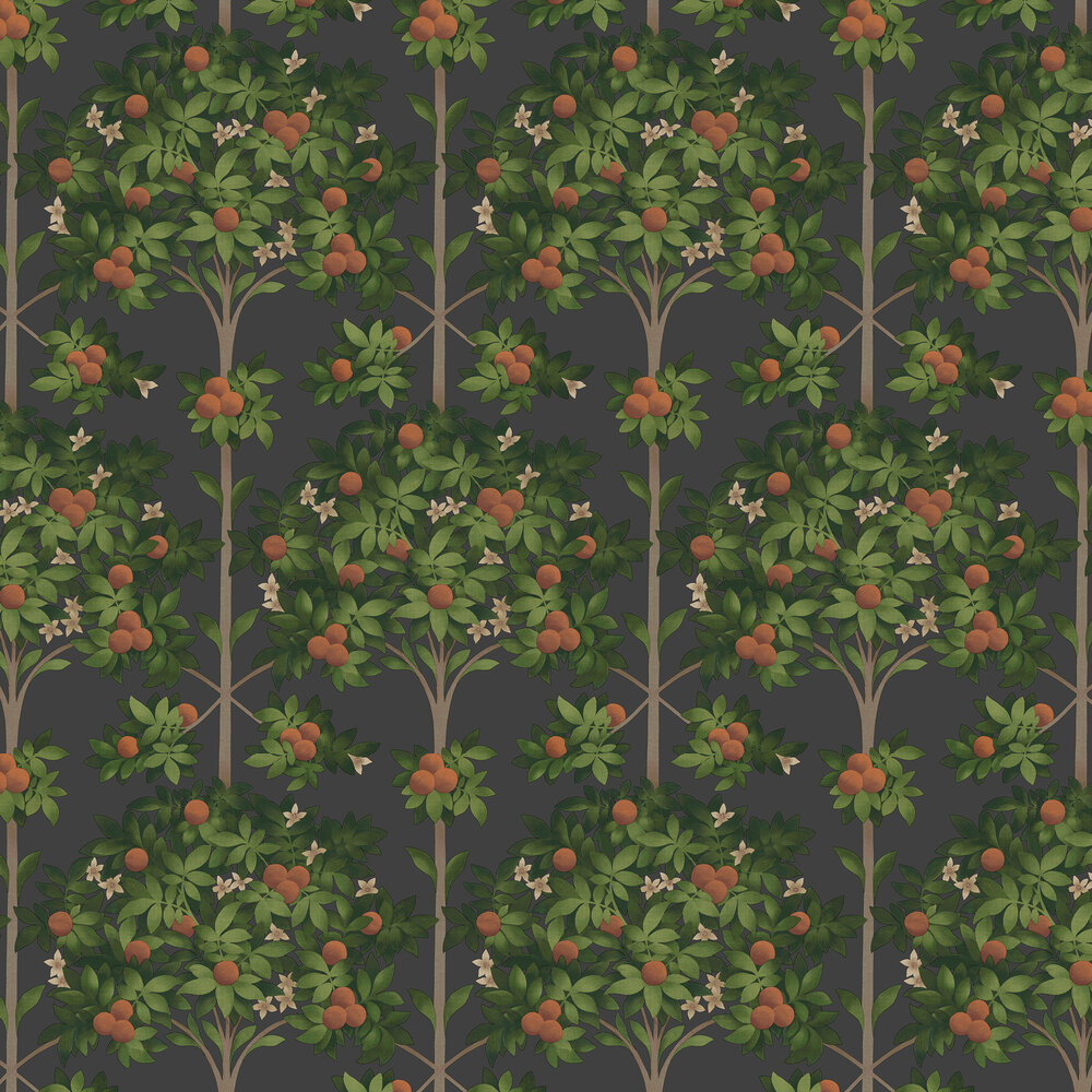 Orange Blossom Wallpaper - Orange & Spring Green on Black - by Cole & Son