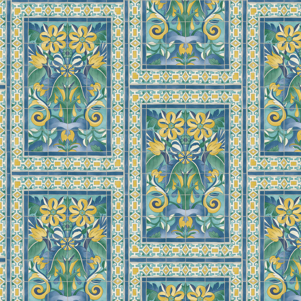 Triana Wallpaper - Canary Yellow & China Blue on Teal - by Cole & Son