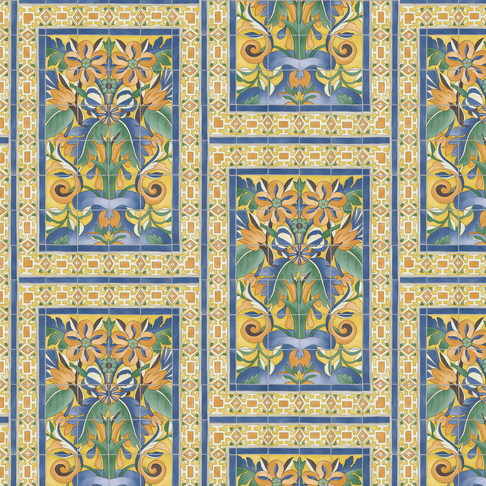Triana Wallpaper - Marigold & Hyacinth on Canary Yellow - by Cole & Son