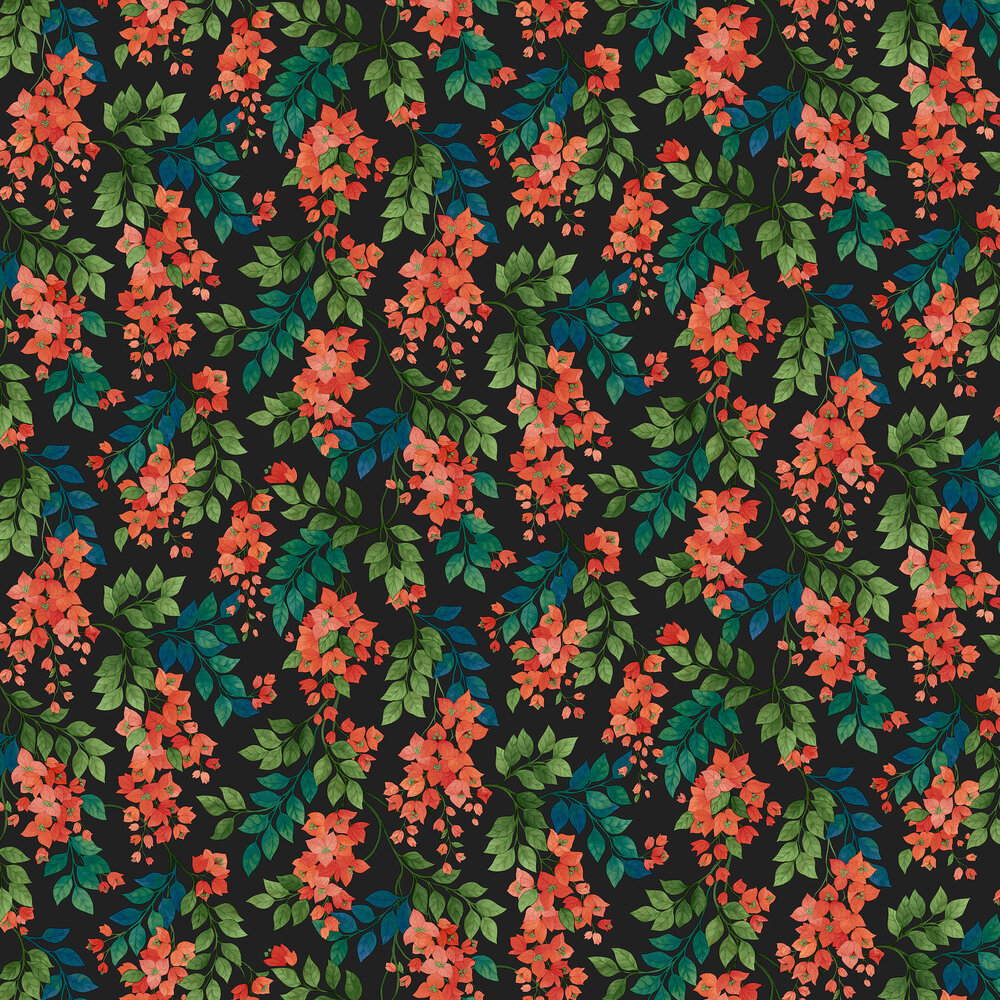 Bougainvillea Wallpaper - Rouge, Leaf Green & Cerulean Sky on Charcoal - by Cole & Son