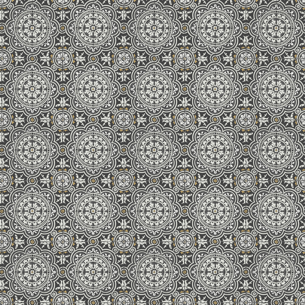 Piccadilly Wallpaper - Grey & Metallic Gold on Black - by Cole & Son
