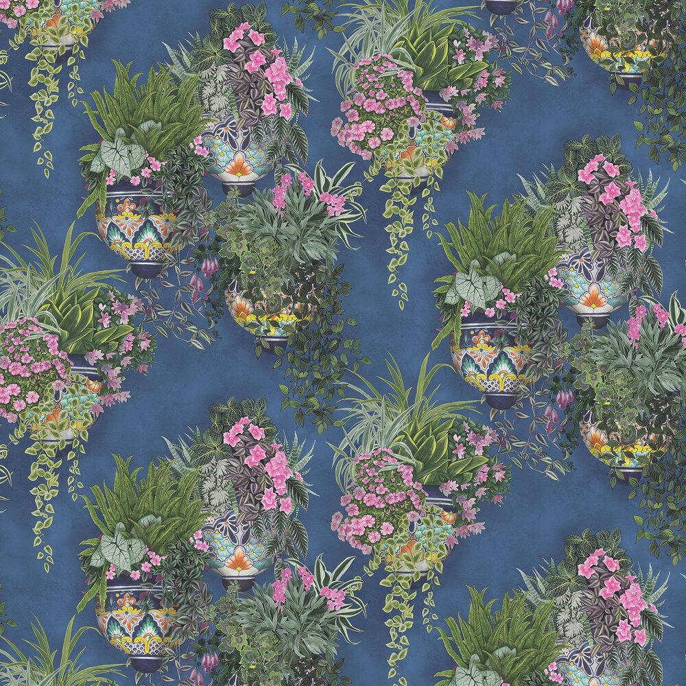 Talavera Wallpaper - Fuchsia & Forest Greens on Cerulean Sky - by Cole & Son