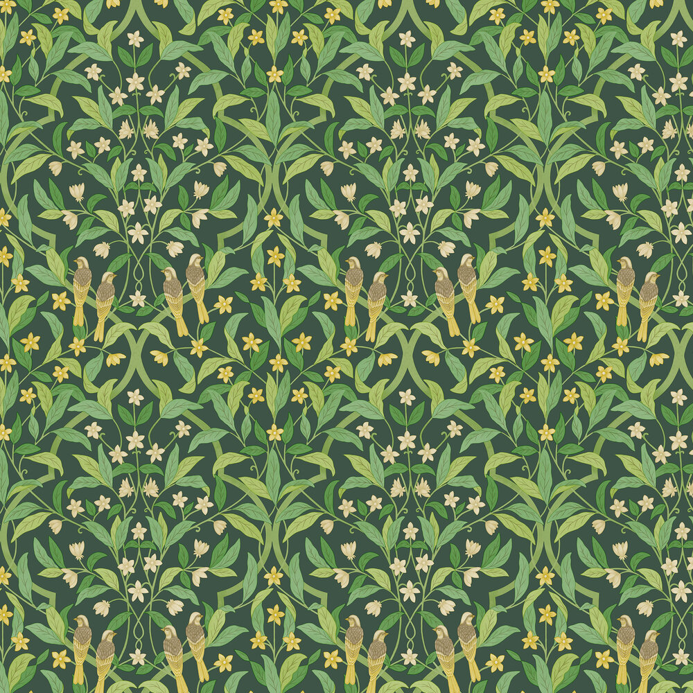 Jasmine & Serin Symphony Wallpaper - Yellow & Leaf Green on Dark Forest Green - by Cole & Son