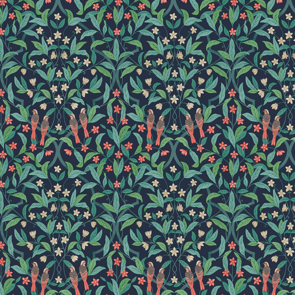 Jasmine & Serin Symphony Wallpaper - Coral & Petrol on Ink - by Cole & Son