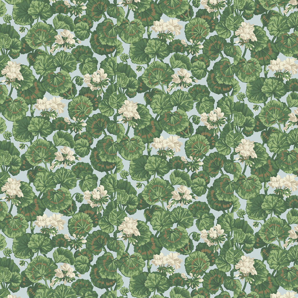 Geranium Wallpaper - White & Sage on Seafoam - by Cole & Son