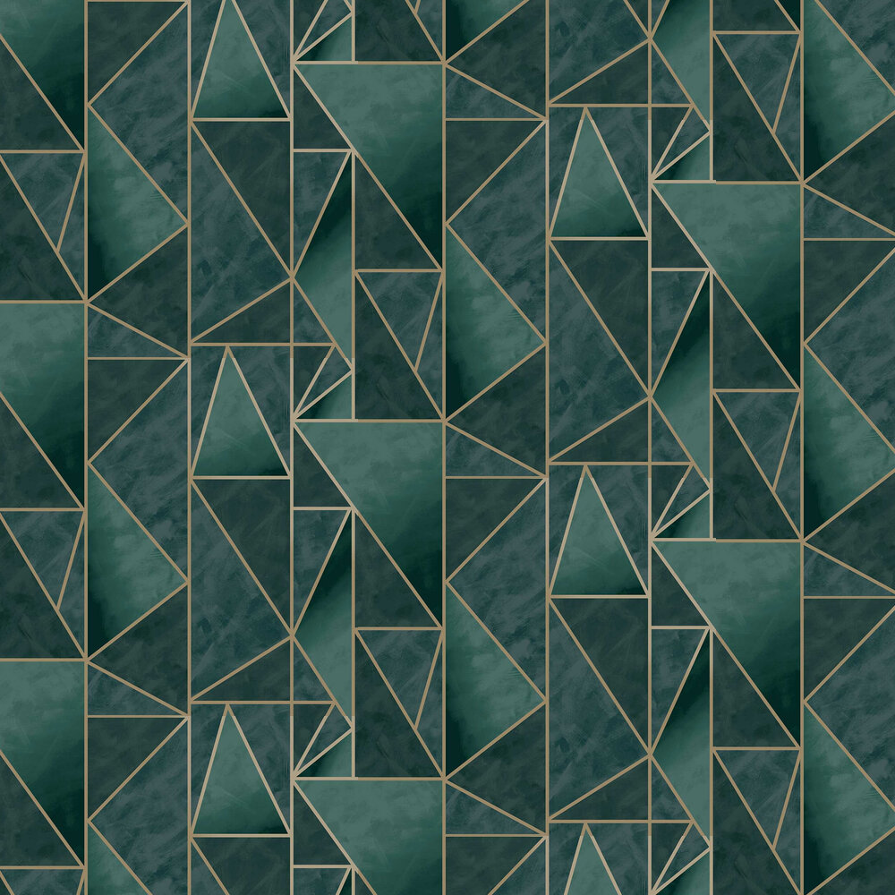Charon Wallpaper - Teal / Gold - by Albany