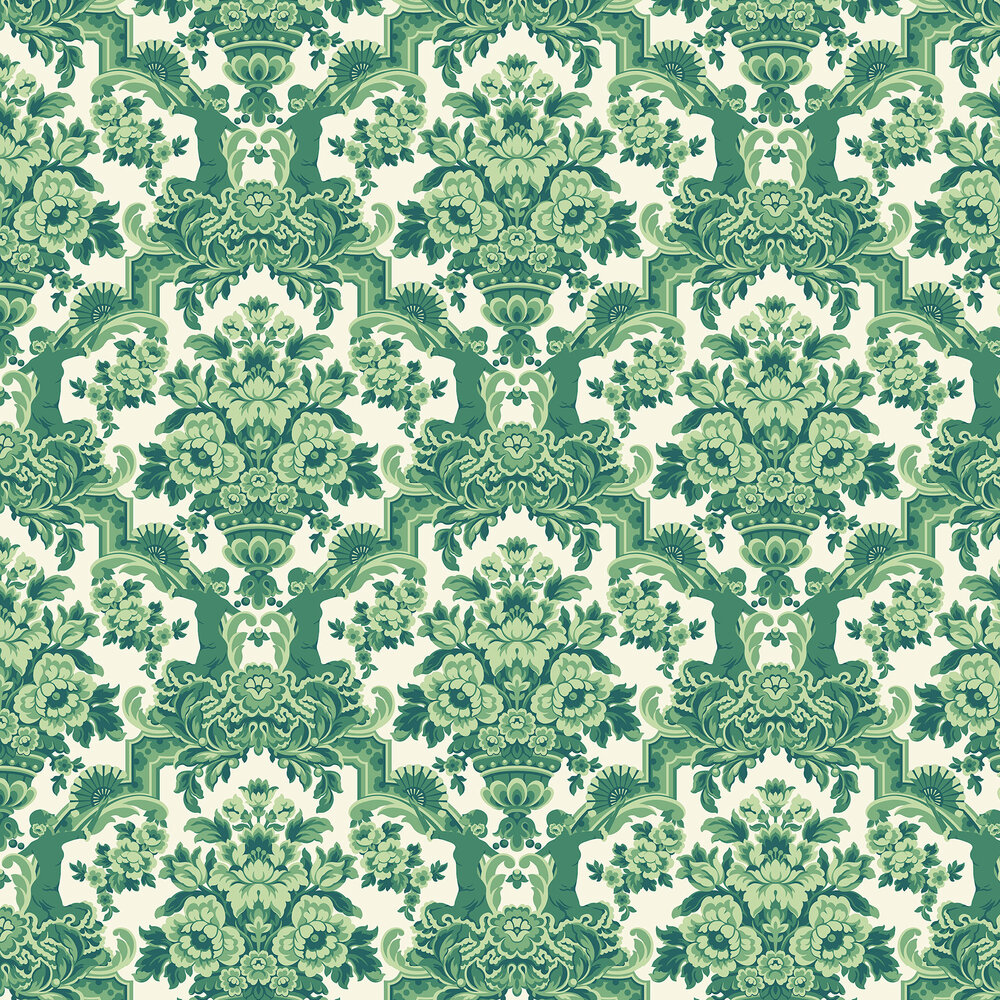 Lola Wallpaper - Forest Greens on White - by Cole & Son