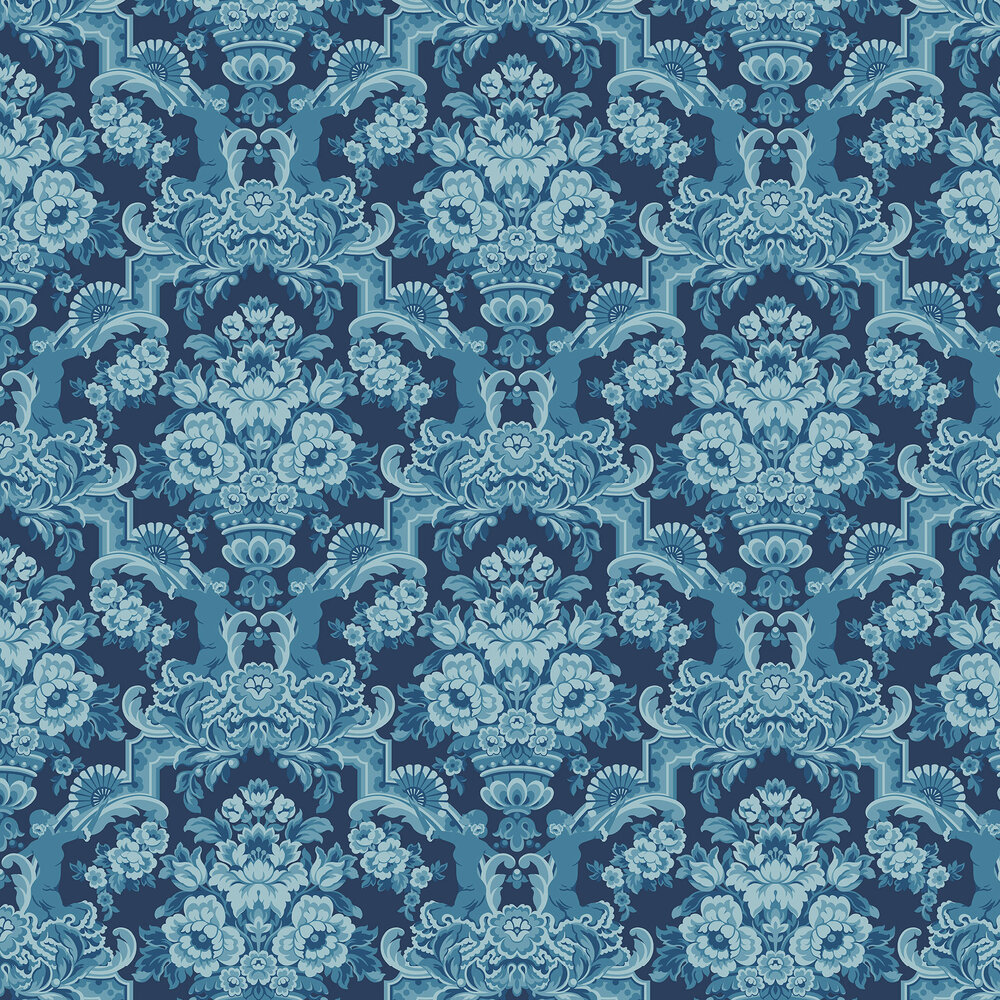 Lola Wallpaper - China Blues on Midnight - by Cole & Son