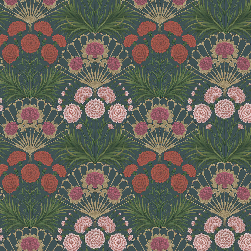 Flamenco Fan Wallpaper - Magenta, Red & Metallic Gilver on Ink - by Cole & Son