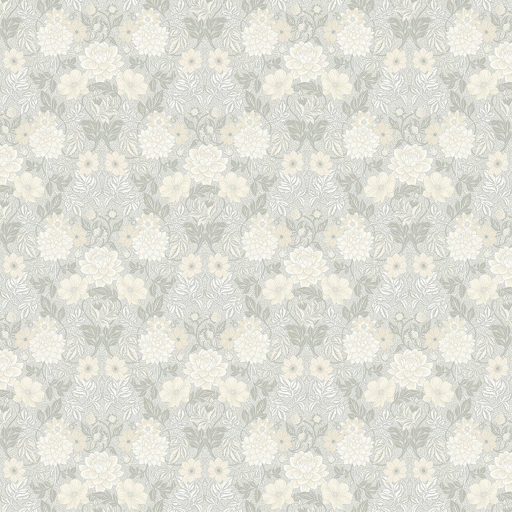 Dahlia Garden Wallpaper - Grey - by Boråstapeter