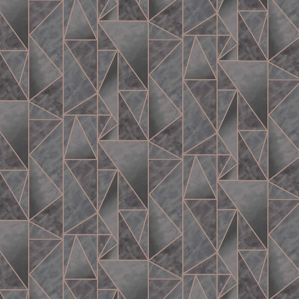 Charon Wallpaper - Charcoal / Rose Gold - by Albany