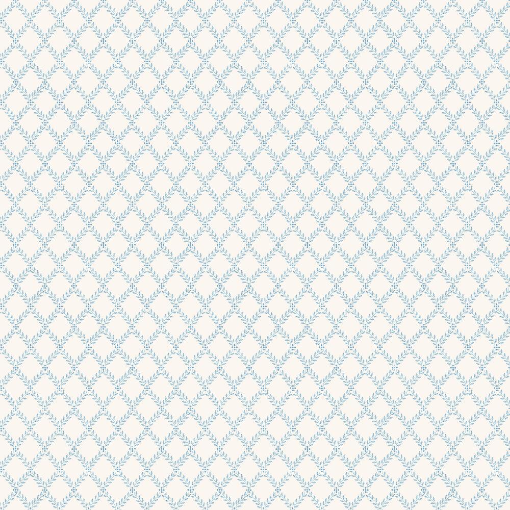 Trellis Leaves Wallpaper - Blue - by Boråstapeter