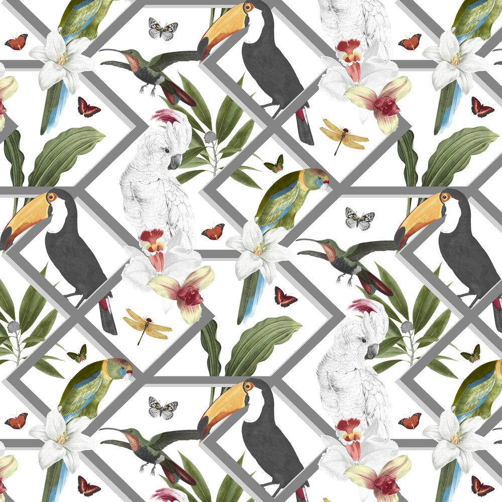 Perch Wallpaper - White - by Graham & Brown