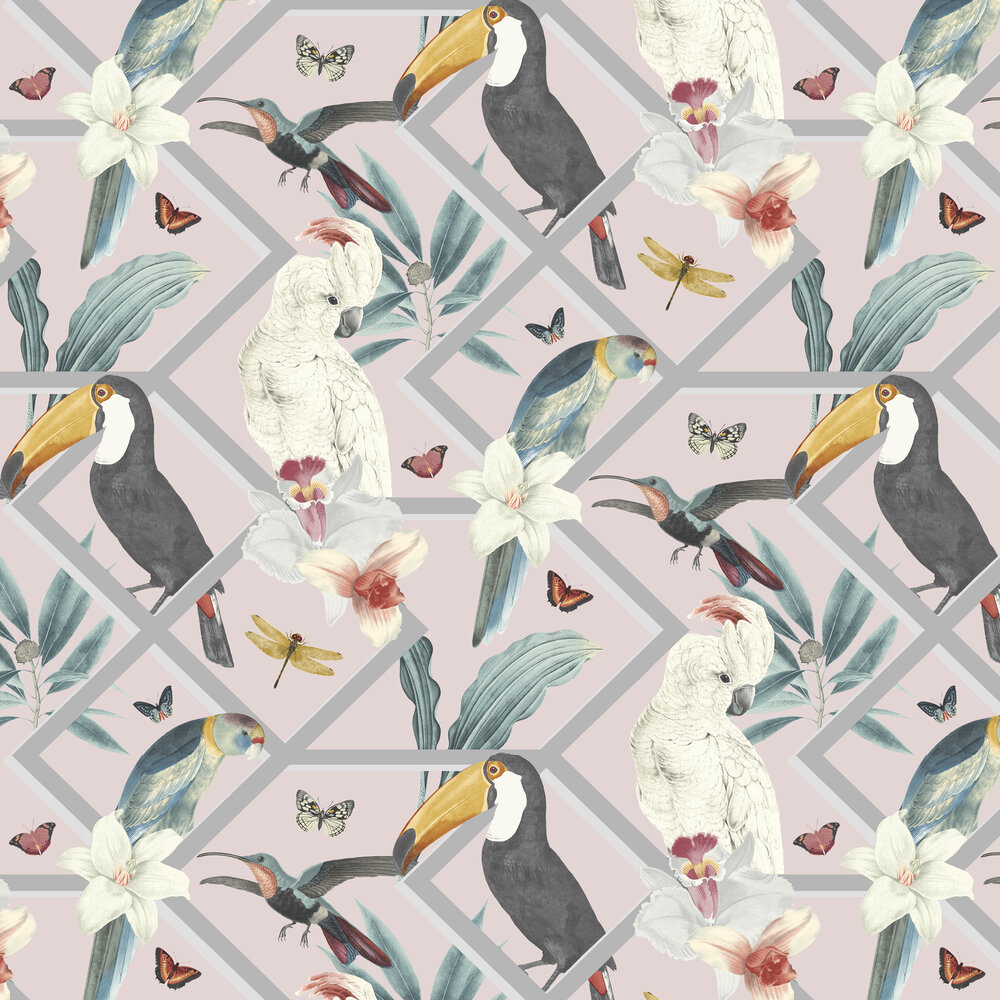 Perch Wallpaper - Blush - by Graham & Brown