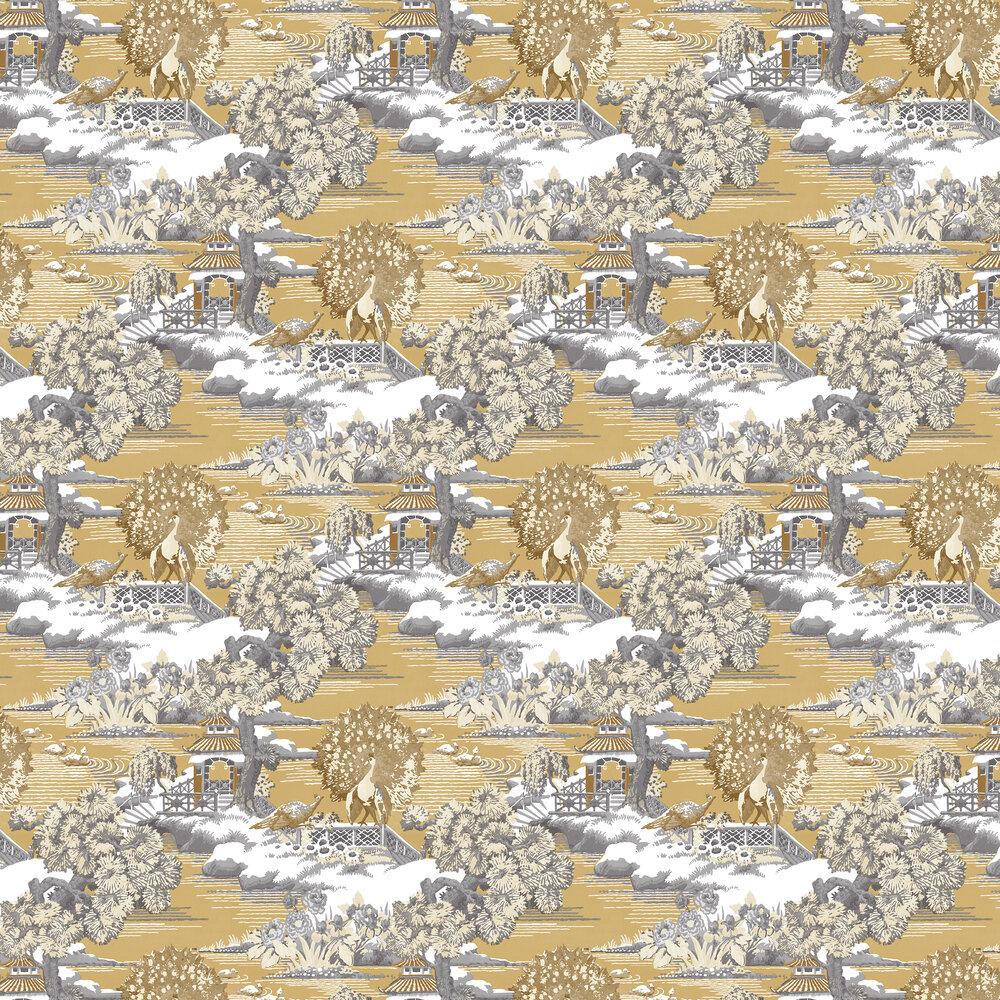 Edo Toile Wallpaper - Mustard - by Graham & Brown