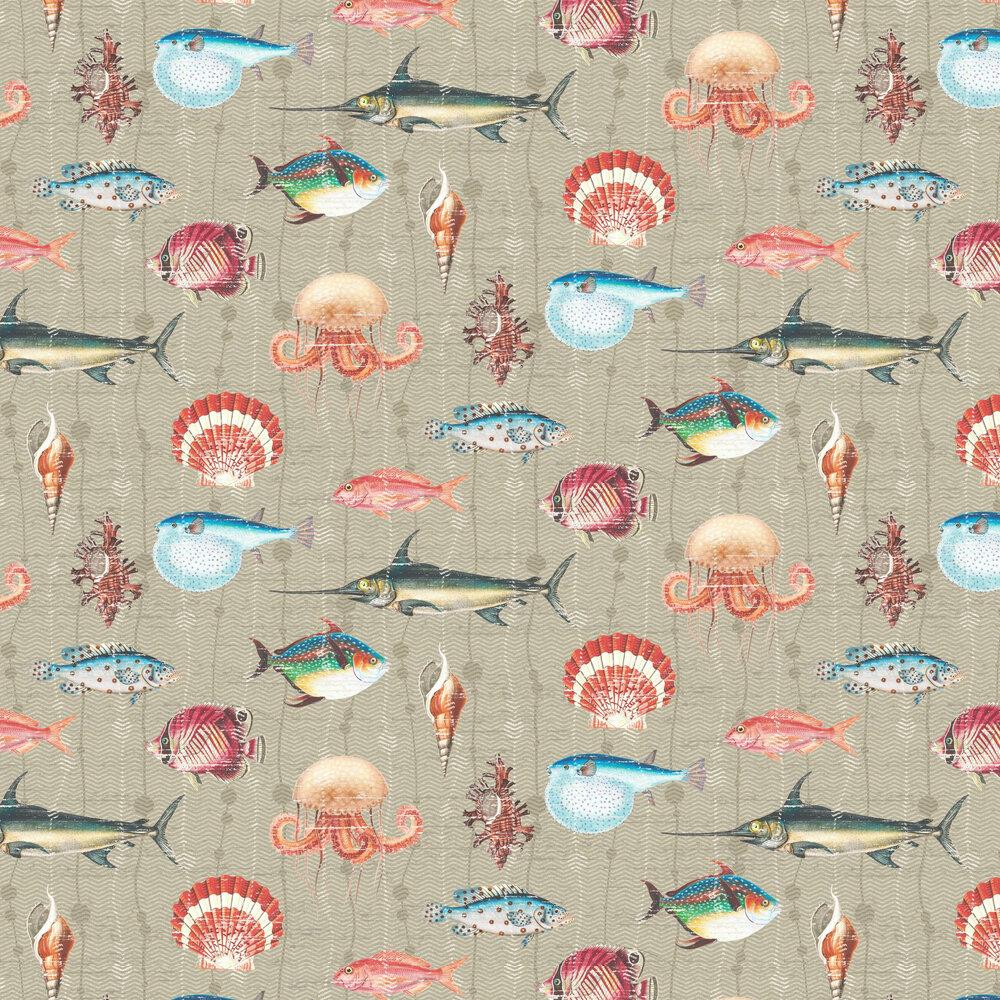 Kitts Wallpaper - Taupe - by Elizabeth Ockford