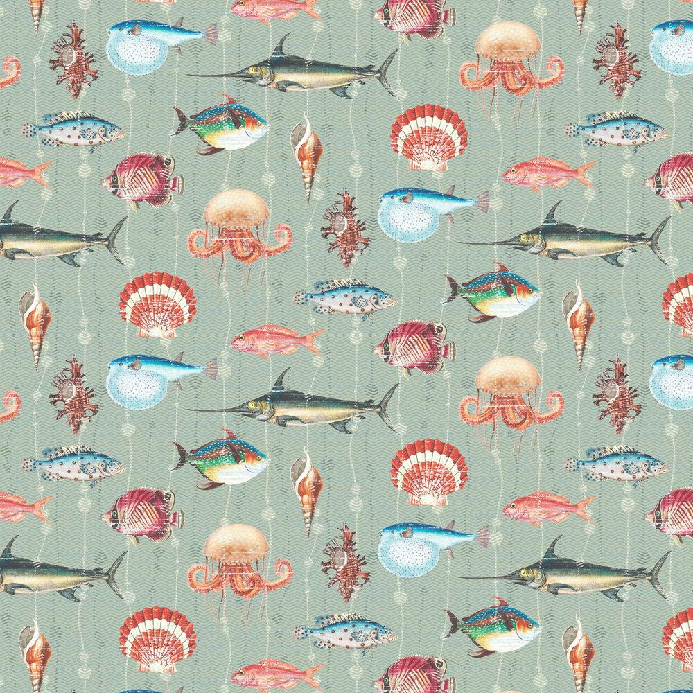 Kitts Wallpaper - Aqua - by Elizabeth Ockford