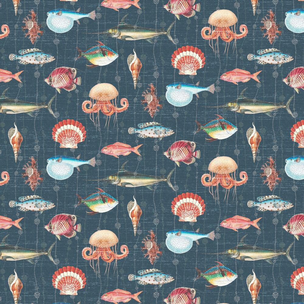 Kitts Wallpaper - Dark Blue - by Elizabeth Ockford