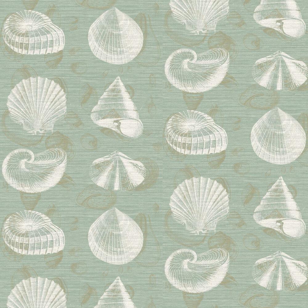 Martinique Wallpaper - Aqua - by Elizabeth Ockford