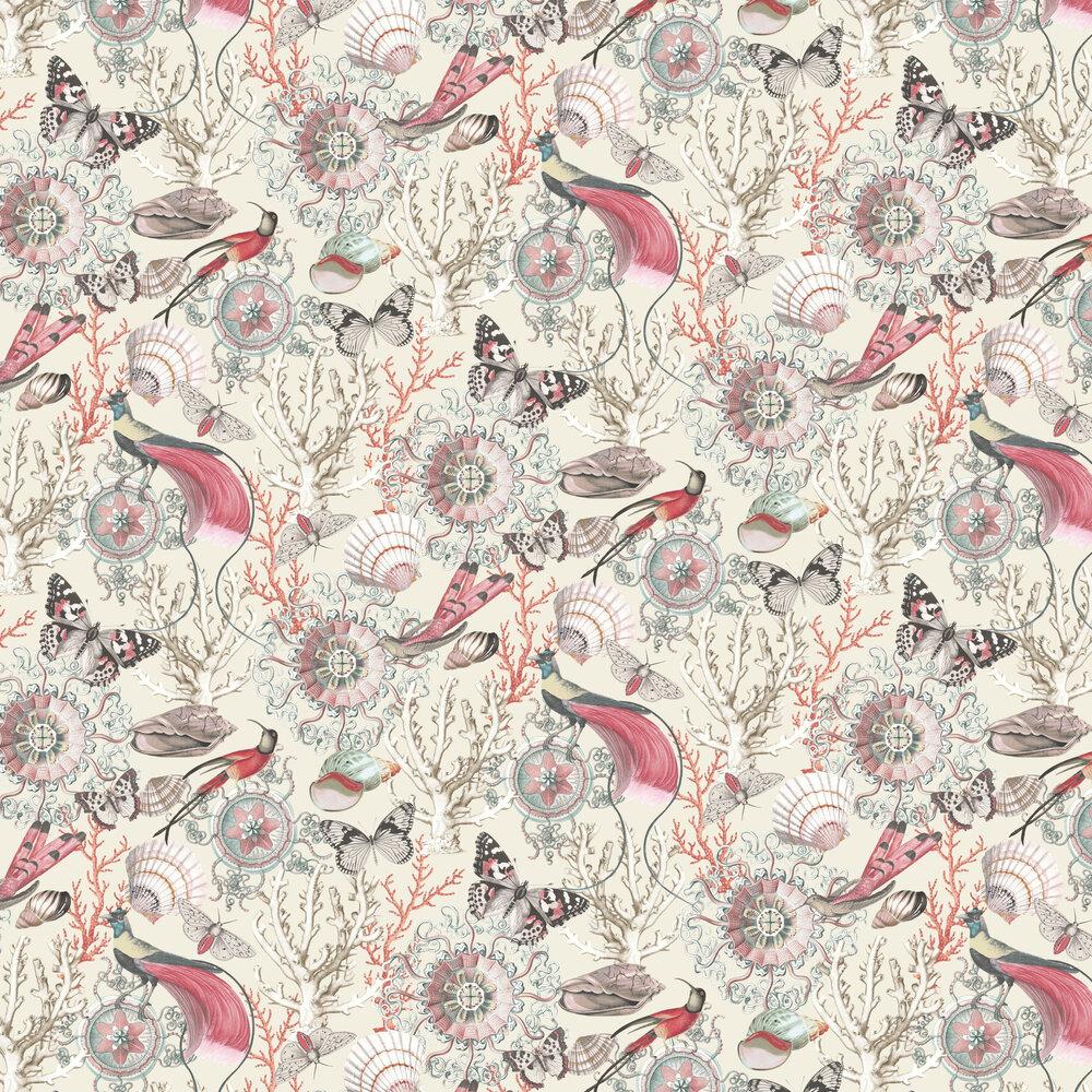 Bahama Wallpaper - Cream / Red - by Elizabeth Ockford