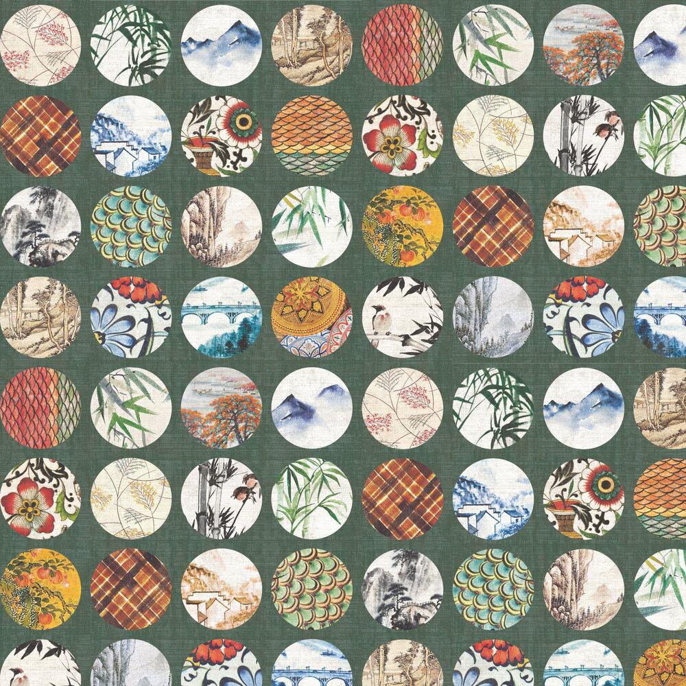Pearl River Wallpaper - Emerald - by Elizabeth Ockford