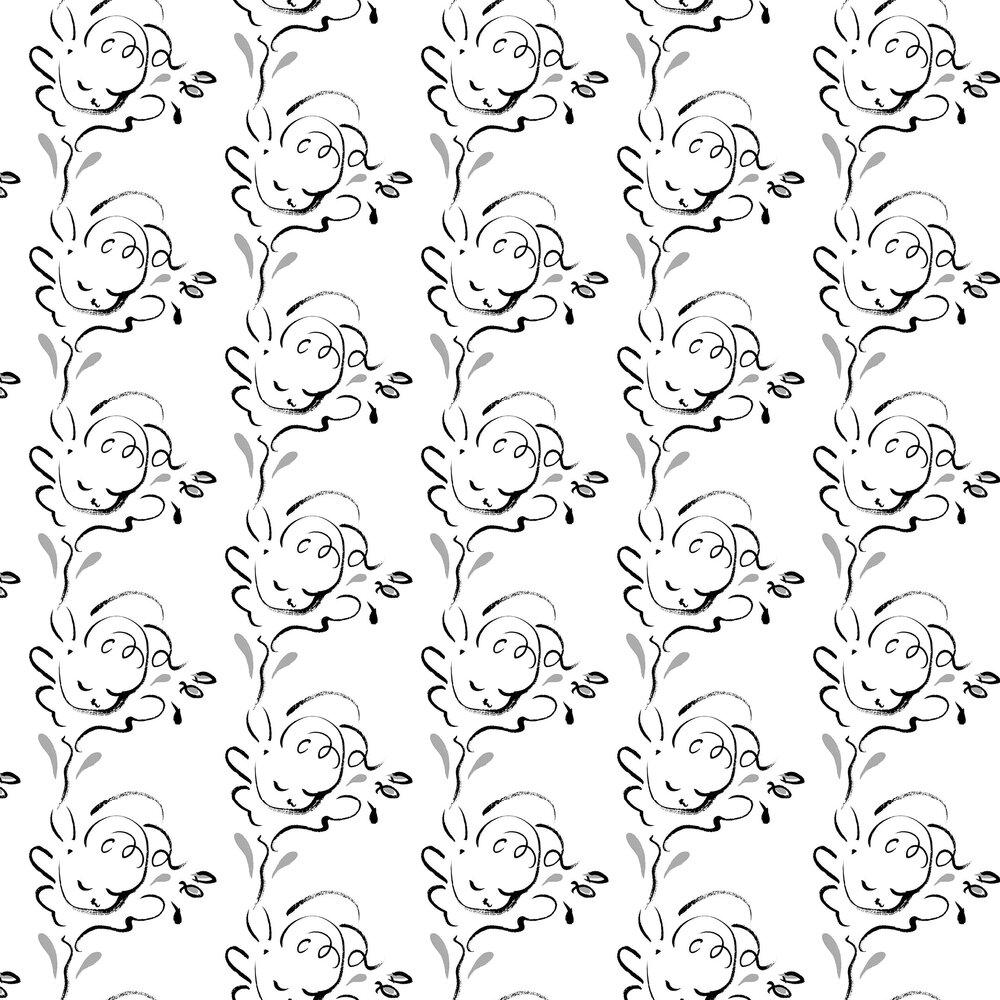 Seraph Wallpaper - Black / White - by Polly Dunbar Decoration