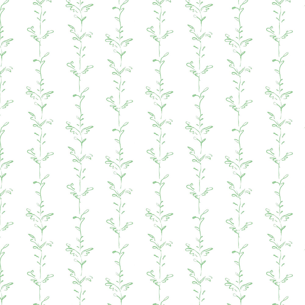 Stem Wallpaper - Green / White - by Polly Dunbar Decoration