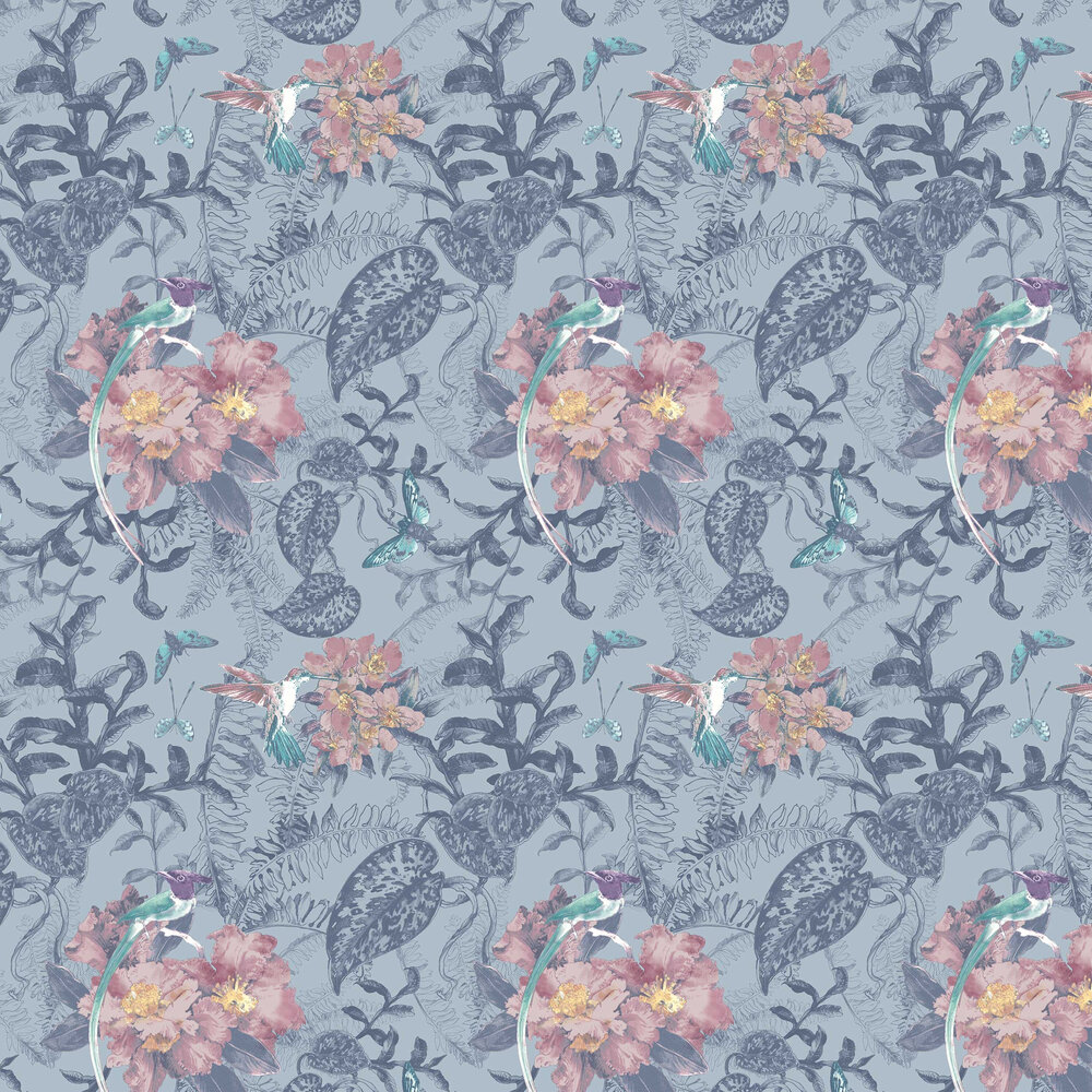 Hedgerow Wallpaper - Blue Dusk - by 1838 Wallcoverings